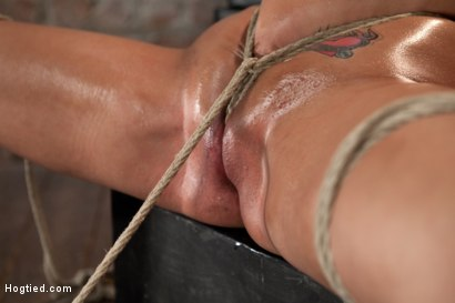 Sexy booming big titted blond is brutally bound & oiled, pulled in 2 different directions.  Neck rope pulls 1 way, a crotch rope the other.  Orgasmic!
