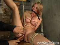 Katja is bound in several positions, gagged, then caned.