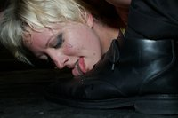 Hot big tittied blonde gets tied up tight, humiliated, and fucked in public bar.