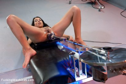 """French babe calls out """"fuck me"""" in French & English while the machines work her every hole.  Thick dick stretches her ass, DP machine makes her cum!"""