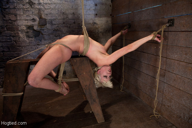 Cherry is now bound to a sawhorse, & extremely bend backwards.  Her neck is tied so she can't get up, her face hole is brutally fucked while cumming!