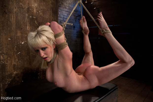 Hot blond bound into modified Category 4 Hogtied. Face fucked, nearly fisted, made to cum over & over.  Punished to the limit of her flexibility!