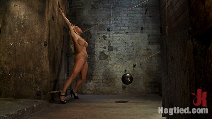 Smoking hot blond milf with huge titsbrsuffers brutal crotch rope pulled to the breaking point. Smoking hot blond MILF with HUGE tits is bound spread, made to cum over and over.  Suffers brutal crotch rope, as she is pulled to the breaking point.