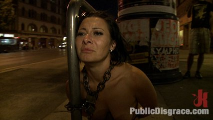 World famous mistress down on her knees crawling naked through the streets of europe. Sandra Romain has the tables turned on her IN PUBLIC. See world famous mistress brought to her knees where everyone can see her disgrace!