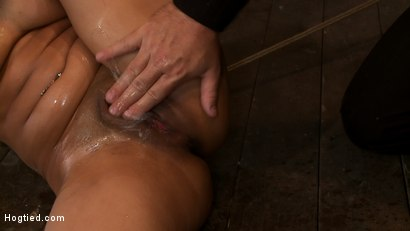 Hot Asian is bound tightly, gets skull fucked, is fingered and vibrated to multiple squirting orgasms. Left lying in about a gallon of her own cum!