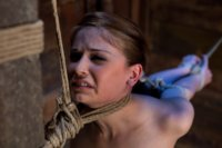 Girl next door, bound in standing splits & full strappado. Category 5 at its best. Intense foot caning, brutal orgasms ripped from her helpless body.