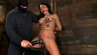 Sexy Hawaiian chick has her huge tits bound, is gagged, put on a big dildo, whipped, abused and made to cum hard while impaled, made to squirt buckets