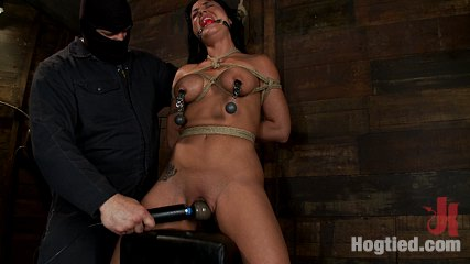 Horny hawaiian chick has her huge boobs bound whippedbrcums massive while impaled squirting buckets. Horny Hawaiian chick has her huge tits bound, is gagged, put on a large dildo, whipped, abused and made to cum heavy while impaled, made to squirt buckets