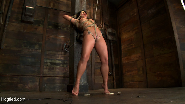 Hot sexy Hawaiian is bound to a pole, lifted to her tip toes with a brutal crotch rope.  Has her breasts and nipple tortured, is made to cum hard!