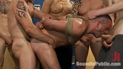 Handyman with a great cock gets tied up and used by excited dudes in the locker room. Handyman with a big tool gets tied up and used by libidinous dudes in the locker room.