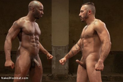 Best friends, furry Latin hunk Alessio Romero and ebony muscle-god Race Cooper, wrestle each other and winner fucks loser with a brutal vengeance.