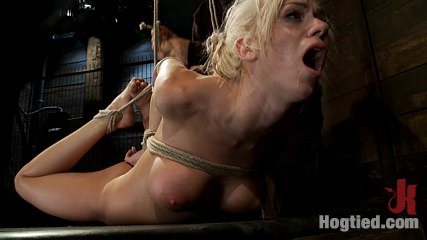 Hot blond with big tits, pony tails, and braces.<br>Face fucked, hogtied & made to cum like a whore.
