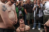Noah Brooks is dragged through the streets, bound, beaten and pissed on.