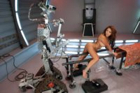 Alien Robots snatch the perfect female for hardcore machine fucking experiment-she's too feisty & dominates their cocks w/squirt & cumming in bondage.