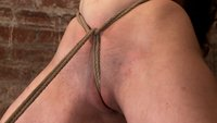 "Serena Blair is a local ""girl next door"" type to the tee.  Bound up tight & helpless, she is flogged, nipple clamped, and made to suck cock, & cum!"