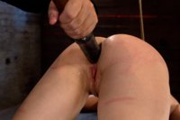Girl next door bound ass up.  Double penetrated, made to cum over & over.  Skull fucked with a big cock. Caned until her sexy ass and legs are marked.