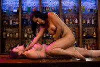 Sexy hooker gets bound, tortured, whipped and fucked by lesbian bartender.