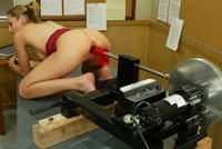 Holly goes fucks a machine in the classroom with a naked Jetaime.