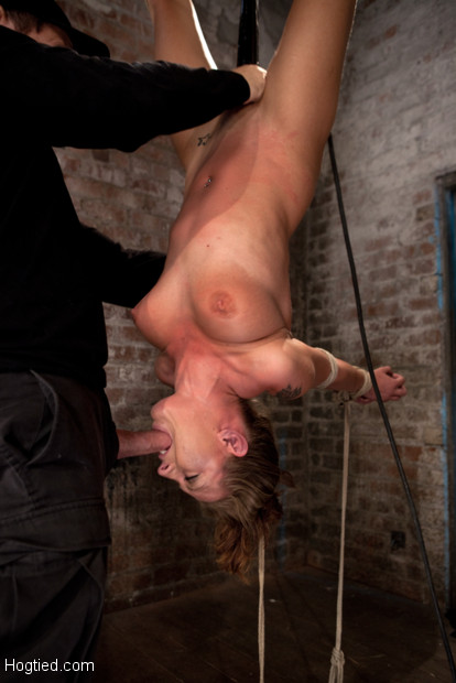 Girl next door is hung upside down, bound in a reverse strappado, Skull fucked, nipple tortured and made to cum over and over while totally helpless.