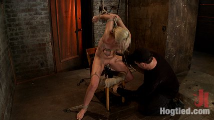 Southern girl made to brutally cumshot over  over  tight bondage massive tit bondage   orgasms overload. Lovely southern girl has elbows tightly bound, boobs cruelly tied, arms strappado'd and made to cumshot over and over until she begs for mercy! So hot!