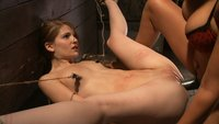 Tiny Sensi Pearl is bound for a fucking.  Her legs are almost put in the splits, her nipples are clamped and pulled.  She is made to squirt and cum!