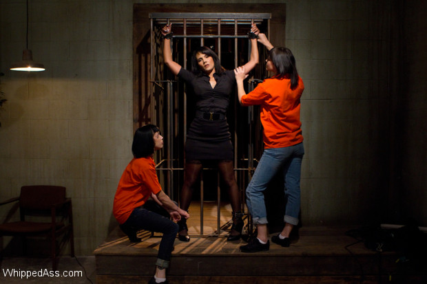 Sexy cougar plays a warden who gets brutally punished, fisted and ass fucked by two hot lesbian prisoners.