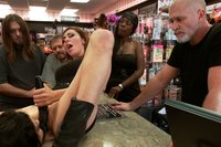 Sexy MILF has her huge tits tied up and abused in public. Ass fucking, glory hole cock sucking, humiliation, and more!