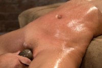 Hot Asian with huge tits and a tight shaved pussy is bound spread, oiled, made to cum from finger banging and vibrators, back & forth over & over.