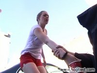 Cloe Hart leans over to give a beggar money finds herself bound.