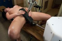 Andy San Dimas finally fucked to oblivion by machines - double vag, straight hard 9 inch thrusting machine fucking and unrelenting orgasms.