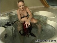 Goth girl's pussy and ass fucked with strap-on dildo