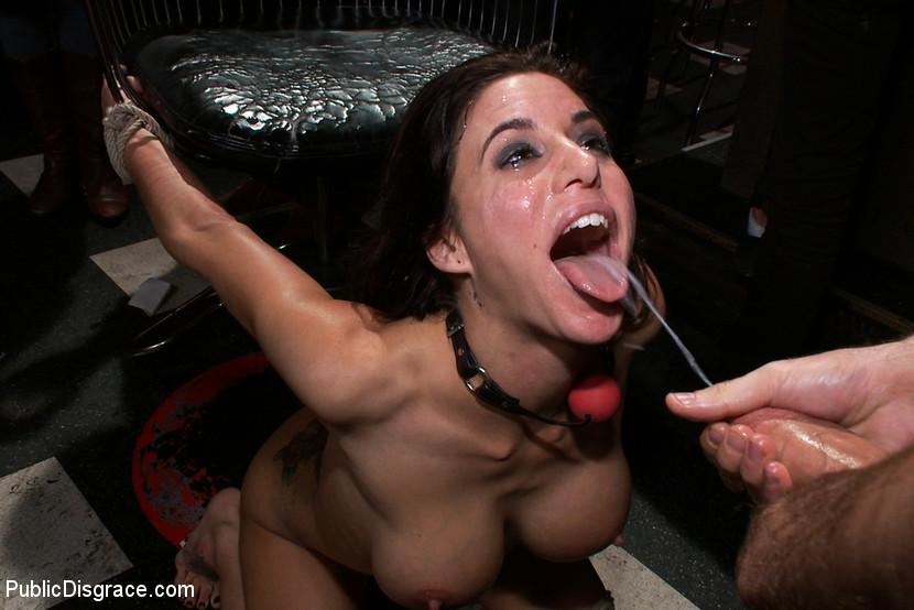Bondage cum on her face