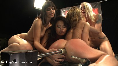 Squirting, huge cocks, fast machines, ass pounding, girl/girl domination by the biggest names - Annie Cruz, Bobbi Star, Lorelei Lee & Kristina Rose
