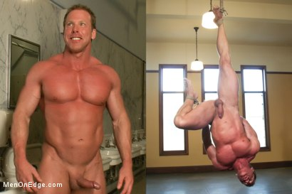 The amazing Derek Pain endures one leg suspension while being edged.