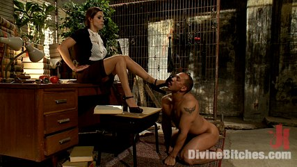 Lady-boss has to use some of the femdom technique to turn lazy guy into a hard-working person
