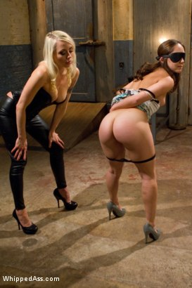Sexy blonde lezdom pops 23 yr old cutie's lesbian cherry by humiliation, single tail, finger fucking, water torture, orgasms and strap-on ass fucking!