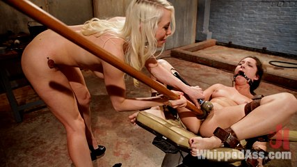 Popping her lesbian cherry. Excited blonde lezdom pops 23 yr old cutie's lesbian cherry by humiliation, single tail, finger fucking, water torture, orgasms and strap-on ass fucking!