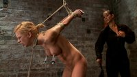 Stappadod-elbows-together-legs-spread-nipples-clamped-and-weighted-flogged-made-to-cum-and-suffer