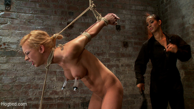 Sexy blond with pony tail and braces, is severely bound, elbows together, legs spread, nipples clamped & weighted, flogged, and made to cum & suffer!