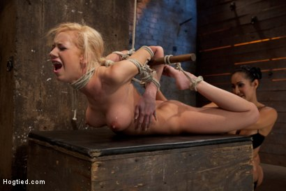 Bound-on-screen-in-an-amazingly-tough-hogtie-Finger-fucked-made-to-cum-skull-fucked-and-tormented