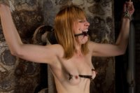 Sexy blond amazon at 5'11 suffers though some old fashion pain. Clothes pins are whipped off her sexy body, & a brutal crotch rope keep her screaming!