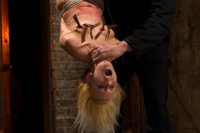 Tiny-Southern-Belle-hung-upside-down-clamped-flogged-her-huge-nipples-tortured-made-to-cum-hard