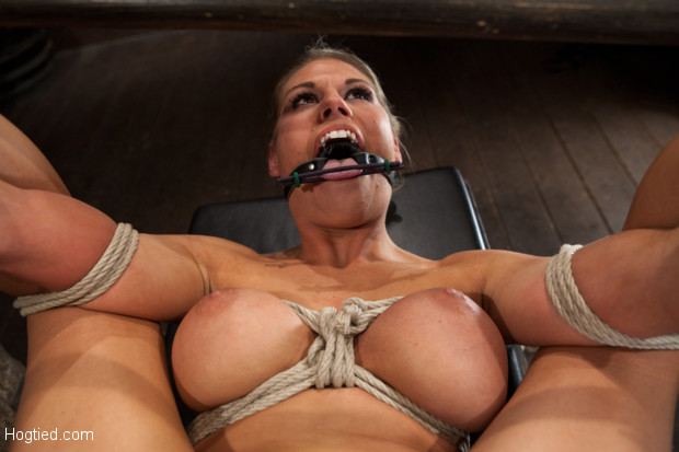"Sexy blond bomb shell w/huge tits, beautiful face is bound in the ultimate ""fuck me position"" Anal penetrated, nipple tortured, made to squirt & cum!"