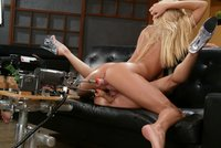 Two Blonde babes fuck each other senseless with machines.