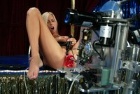 Super sexy blonde gets a pussy stretching machine fucking.