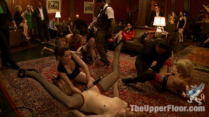 House party donna s squirt festival. Four sex slaves scream, twist, and orgasm as every drop of squirt is milked from their pussies with aggressive fisting, double fisting, and toys.