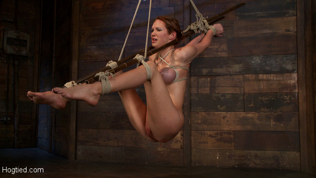 Skinny girl with massive boobs, long legs, suffers a category 5 suspension & skull fucking.  Brutal bondage, devastating orgasms.  Art at it's finest.