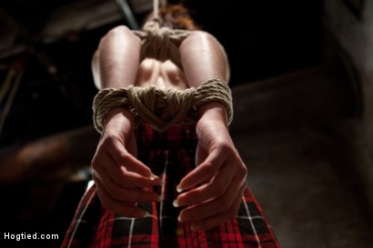 Bound with her legs spread and barefoot, her elbows and hair are attached to a hoist and pulled up. Nipple clamps are added and she is made to cum.