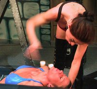 Kym subs to Rebecca Lords, beaten, tied to wheel, hotwaxed
