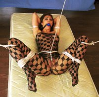 Foxy lady in catsuit gets Hogtied!